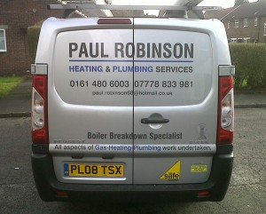 the Paul Robinson Plumbing and Heating of Stockport Van