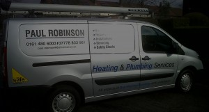 the paul robinson plumbing and heating van in stockport